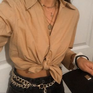 Vintage Tops - Vintage • Tan Tie Up Button Down Long Sleeve Shirt